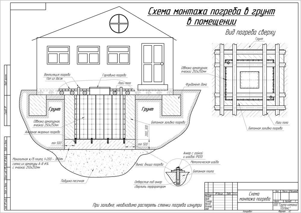 Чертеж заглубленного погреба под домом.
